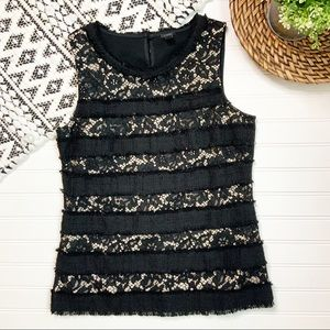 J.CREW Black Lace Holiday Tank Top